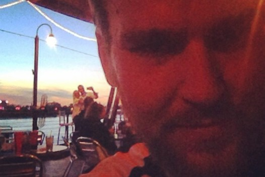 Selfie of a selfie at the Blue Rose on riverside. To be fair, it was a beautiful sunset.