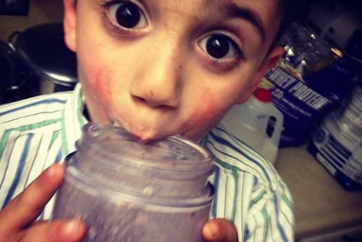 Aiden always helps me finish my protein shakes. He's honey badger about the giant blender ring on his face.