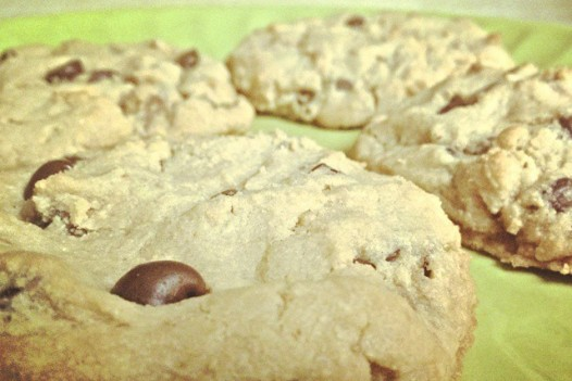 Reese's peanut butter cup and chocolate chip cookies, made with 1/3 coconut flour and cream cheese. Noms.