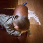 He is literally crying over spilled milk.