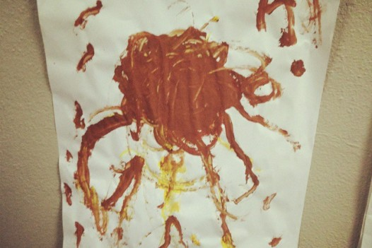 Aiden drew this at school. I think I've got a Pastafarian on my hands, praise FSM.