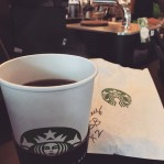 Enjoying Clover at Starbucks with my brother.