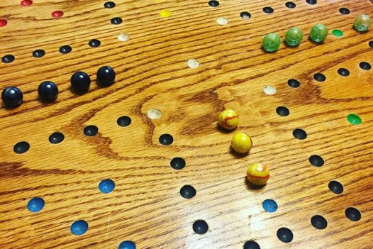 It was close, with Avery playing black, and coming in first! Aiden took second place with green. I lost with my weird yellow flamey marbles. #wahoo